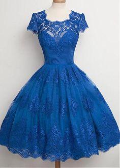 On Sale Easy Prom Dresses Lace, Prom Dresses Blue, Prom Dresses Short, Prom Dresses Vintage Pretty Dresses, Beautiful Dresses, Amazing Dresses, Royal Blue Homecoming Dresses, Homecoming Dresses Knee Length, Knee Length Dresses, Scalloped Dress, Scalloped Edge, Look Vintage