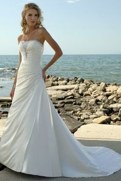 $249 Modest New Arrival Wedding Dresses A Line Strapless Court Train Elastic Satin affordable on sale, discount bridal gowns shop for wedding at 2013 to 2012 vogue style.