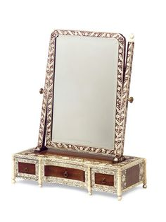 Anglo Indian mirror made to sit atop a dressing table. Pretty.