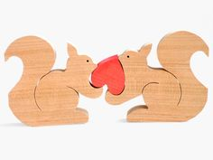 リスのカップル(ハート) 木のおもちゃ杢・MOKU
