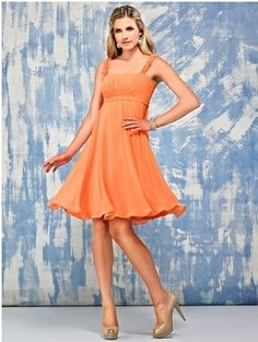 Square empire sleeveless orange chiffon pleated A-line knee-length Bridesmaid Dress BD252173