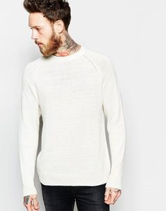 Get this Weekday's knit pullover now! Click for more details. Worldwide shipping. Weekday Fine Crew Knit Jumper in Off White - White: Jumper by Weekday, Lightweight, breathable knit, Crew neck, Raglan sleeves, Ribbed trims, Regular fit - true to size, Machine wash, 55% Wool, 25% Polyamide, 20% Lyocell, Our model wears a size Medium and is 191cm/6'3 tall. Weekday founders �rjan Andersson and Adam Friberg honed their signature Scandinavian style across a cult line of skinny jeans…
