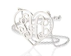 Monogram necklace - Heart monogram Necklace 1.25 inch Personalized Monogram - 925 Sterling silver