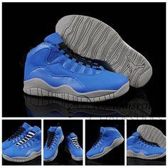 reputable site 605ab b37fd Nike Air Jordan 10   Classique Chaussure De Basket Homme Bleu Grise