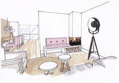 Croquis couleur salle a manger for Interieur tekenen