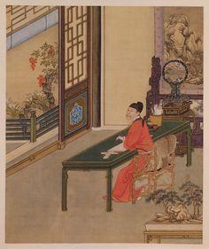 Yinzhen's (Yongzheng's) Amusements: 'Copying a Sutra in a Studio' - painting from the life of the Yongzheng emperor