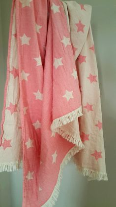 Pink towel for girls Newborn blanket throw by TheMoonKidsBoutique