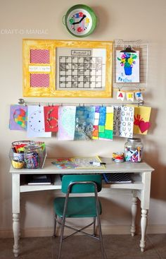 Homework station-- I like the focus on art here and I already have that hangy thing from Ikea! :)
