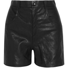 Saint Laurent High-rise leather shorts (2,750 CAD) ❤ liked on Polyvore featuring shorts, saint laurent, high-waisted shorts, leather shorts, highwaist shorts, black highwaisted shorts and black high waisted shorts