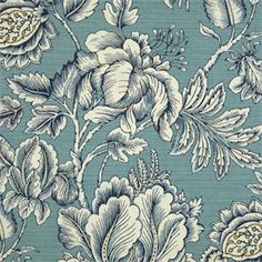 This is a cotton floral design drapery fabric in blue and natural by Swavelle Mill, suitable for any decor in the home or office. Perfect for bedding and pillows.v112HEF