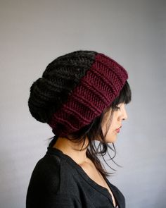 Brother Paul Two Toned Knit Slouch Beanie in Plum & Charcoal. $36.00, via Etsy.