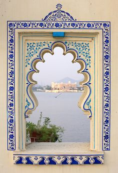 Travel Inspiration for India - Details, window. Udaipur,Rajasthan,India - view from the island of Pichola Lake ~ photo by kukkaibkk Indian Architecture, Architecture Details, Ancient Architecture, Architecture Background, Window View, Rajasthan India, India India, Jaipur, Through The Window