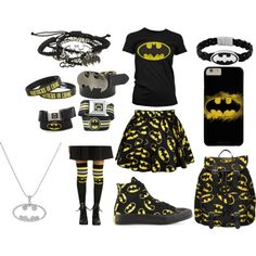 A fashion look from November 2015 featuring Retrò skirts, DC Comics socks and Hot Topic bracelets. Browse and shop related looks.