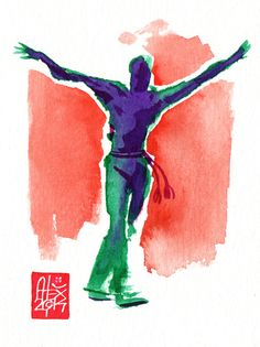 Illustration : Capoeira – 711 [ #capoeira #watercolor #illustration]