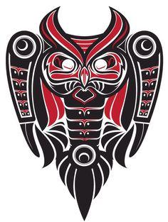 the OwL totem Haida Kunst, Arte Haida, Haida Art, Native American Design, Native Design, Native Tattoos, Tribal Tattoos, Native Indian, Native Art