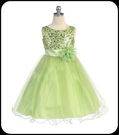 Green Flower Girls Dress w. Sequin Bodice & Double Ruffled Hem     Isabellasfate.com