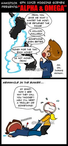 SPN 11X23 Missing scenes, spoilers. by KamiDiox Anti-Castiel rant ahead, read under your own risk. I know this is not funny, but Carver really ruined good, awesome and incredible usefull characters as God and Amara. He ruined them big time. And don't...