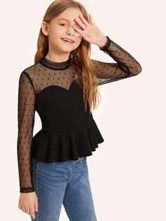 Dot Mesh Sweetheart Peplum Top To find out about the [good_name] at SHEIN, part of our latestGirls Blouses ready to shop online today!To find out about the [good_name] at SHEIN, part of our latestGirls Blouses ready to shop online today! Preteen Girls Fashion, Girls Fashion Clothes, Little Girl Fashion, Kids Fashion, Fashion Outfits, Dresses Kids Girl, Kids Outfits Girls, Cute Girl Outfits, Teen Outfits