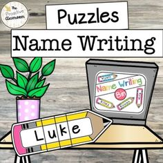 Editable Puzzles Write My Name / Spell My Name Writing Centers / Bins / Tubs Preschool Name Recognition, Preschool Names, Writing Centers, Name Writing, Tubs, Spelling, Puzzles, Classroom, Bathtubs