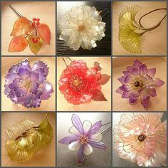 Nylon Flowers, Wire Flowers, Balloon Flowers, Kanzashi Flowers, Plastic Flowers, Paper Flowers, Flower Crafts, Flower Art, Nail Polish Flowers