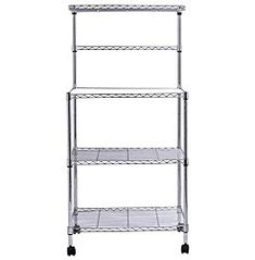 Kitchen Bakers Rack 3 Tiers Free Standing Microwave Oven Stand Storage Utility Cart Workstation Shelf Rolling With 4 Swivel Wheels Multi-Functiona Adjustable Shelf Height