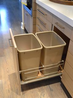 Kitchen, Two Trash Can One Recycle One Regular At Hidden Door Mounted Garbage Can Ideas Kitchen Designs Complete Your Kitchen With Door Mounted Garbage Can Designs: Door Mounted Garbage Can Designs at Contemporary Kitchen Looks Awesome