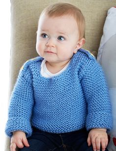 Free Knitting Pattern for Baby Garter Stitch Sweater - Easy pullover sweater suitable for beginners. To fit 6 (12-18) mos.