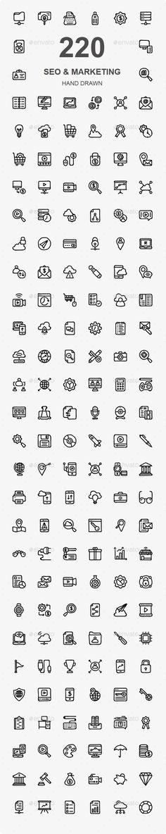 SEO & Marketing Hand Drawn Icons