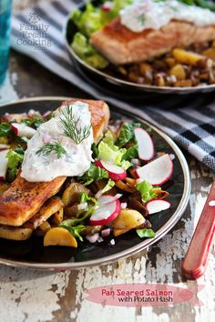 Pan Seared Salmon with Potato Hash - New Post from Family Fresh Cooking