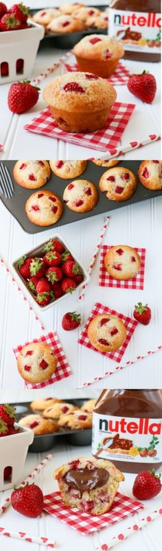 A delicious, soft, moist and fluffy muffin, loaded with fresh juicy strawberries and filled with Nutella inside! Quick and easy to make.