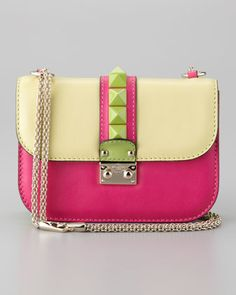 Valentino Glam Lock Colorblock Small Flap Bag By jimmy choo Valentino Handbags, Studs And Spikes, Satchel, Crossbody Bag, Designer Shoulder Bags, Small Shoulder Bag, Mellow Yellow, Fashion Handbags, Colors