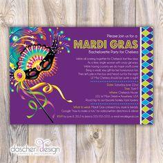 Custom Printable Mardi Gras Bachelorette Party by DascherDesign, $10.00