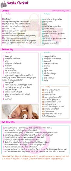 Hospital Checklist- I actually like this one!