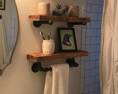 Wall Storage Shelves, Rustic Wall Shelves, Bathroom Wall Shelves, Rustic Floating Shelves, Deep Shelves, Display Shelves, Industrial Shelves, Shelving, Colorful Kitchen Decor