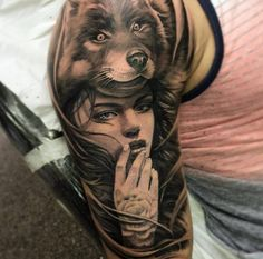 girl wolf tattoo