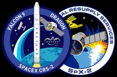 2013 - Both SpaceX (left) and NASA have designed mission patches for the second Commercial Resupply Services (CRS) flight to the International Space Station. Credit: NASA/SpaceX
