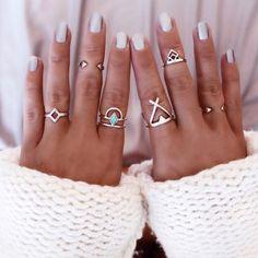 Vintage Charm Boho Style Ring Set (6 Rings)