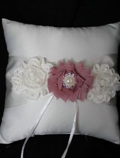Ivory Ring Bearer Pillow with Shabby Chic Trim in Ivory and Dusty Rose Pearls and Rhinestone by CustomRingChests on Etsy https://www.etsy.com/listing/219128257/ivory-ring-bearer-pillow-with-shabby