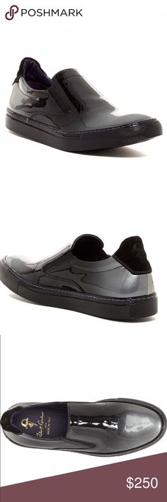 Robert Graham Patent Slip-On Sneaker NWT.  A shiny patent leather slip-on styled in trend-right ombré shading makes for an eye-catching update to both your casual and formal ensembles.  Perfect shoes for a fashionable male. Slip-on style with elastic gore insets. Patent leather upper/leather lining/rubber sole. By Robert Graham; made in Italy. Robert Graham Shoes Loafers & Slip-Ons