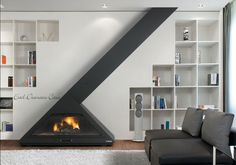 Hanging Fireplace, Home Fireplace, Modern Fireplace, Fireplace Design, Fireplace Ideas, Home Furniture, Furniture Design, Casa Loft, Freestanding Fireplace