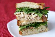 vegan - artichoke/bacon chicken salad sandwich