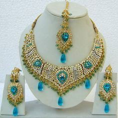 Aqua Blue and Off White Studded Imitation Necklace Set