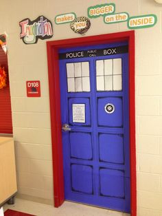 Happy August, Everybody! Doctor Who door- Imagination Makes You Bigger on the Inside!Artopotamus: Happy August, Everybody! Doctor Who door- Imagination Makes You Bigger on the Inside! Middle School Classroom, Classroom Door, Classroom Design, Future Classroom, Classroom Themes, Classroom Organization, School Fun, Organization Ideas, Tardis Door