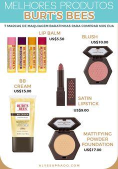 Os melhores produtos da Bert's Bees! Veja mais dicas de marcas de maquiagem baratinhas para comprar nos Estados Unidos nesse post! Blushes, Dupes, Burt's Bees Bb Cream, Bb Cream Foundation, Satin Lipstick, Burts Bees, Lip Balm, Eyeshadow, How To Make