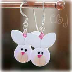 Easter Bunny Earrings Polymer Clay Bunny Earrings by CBJbyLorena, $14.50