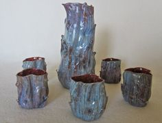 Flameworked Blown Glass Sake Set--Thorny Tree Trunk Style