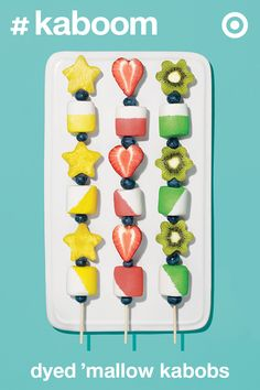 Ring in summer with a bang. Create your own fruit-on-a-stick cuties at home with this fun and easy marshmallow and fruit kabob recipe.
