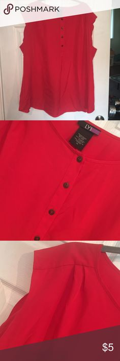 Sleeves top/blouse. EUC Sleeves top/blouse. EUC. Power red color.  Button detail. 100% poly/ silk like. Pleats at shoulder for fit. 2X LYS Tops Blouses