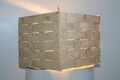 Pizza box w/ wood-grain veneer light pendant
