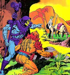 80s Masters of the Universe - Skeletor & Beast-Man prepare to attack Teela (who is still blonde here as opposed to the Filmation version)